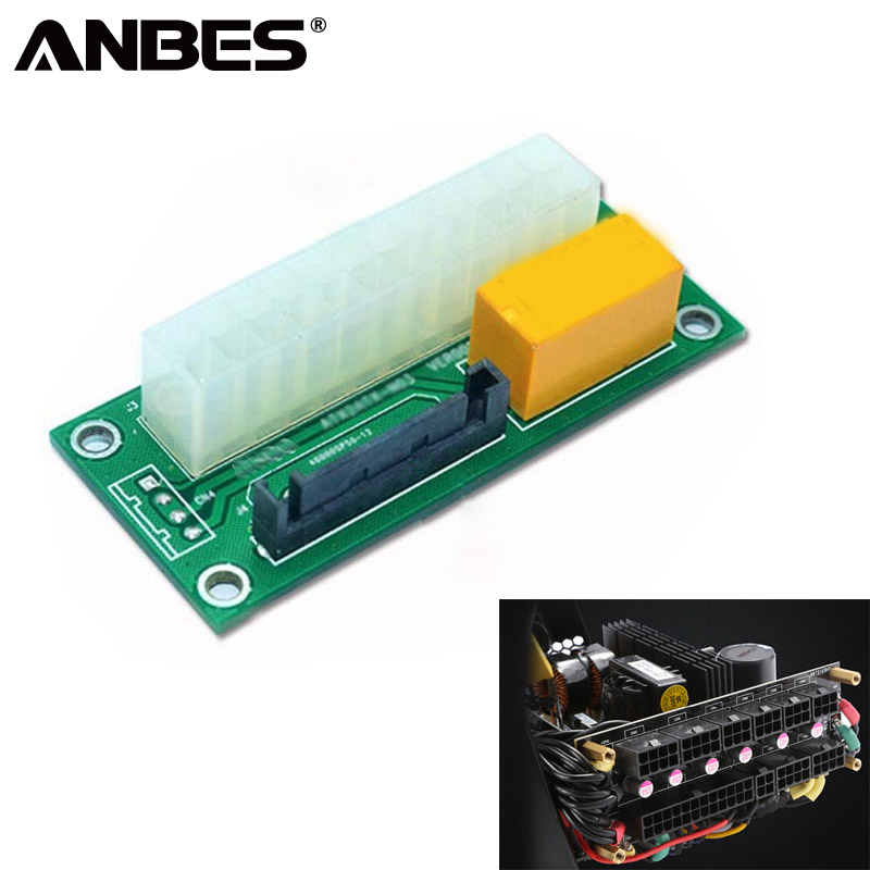 ANBES PC Desktop ATX 24Pin to 15Pin SATA Dual PSU Molex Power Supply Sync Starter Extender Cable Card For BTC LTC Mining atx mining 30cm 24 pin dual psu power supply extension cable for computer adaptor connector 24pin 20 4pin