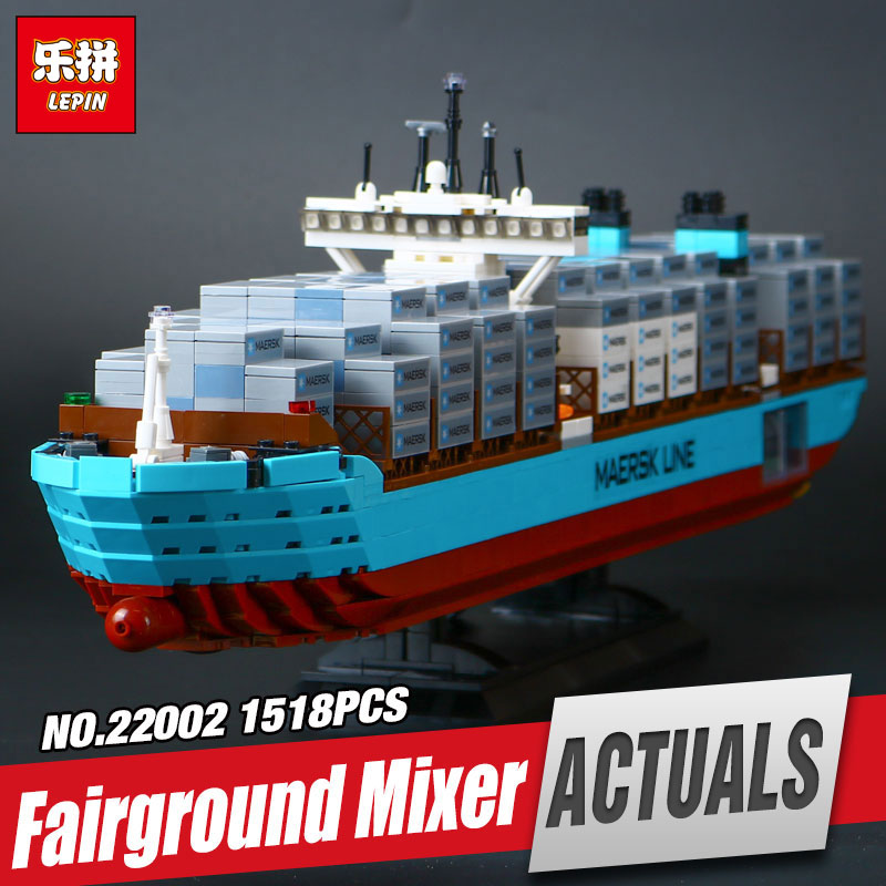 Lepin 22002 1518Pcs Technic Series The Maersk Cargo Container Ship Set 10241 Educational Building Blocks Bricks Model Toys Gift black pearl building blocks kaizi ky87010 pirates of the caribbean ship self locking bricks assembling toys 1184pcs set gift