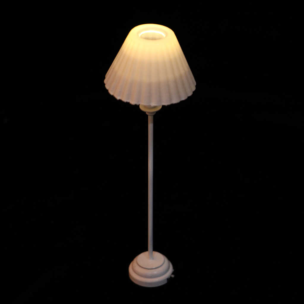 Modern Furniture Living Room Bedroom Elegant LED Mini Floor Lamp Light With White Light Cover For 1/6 1/12 Dollhouse Accessory