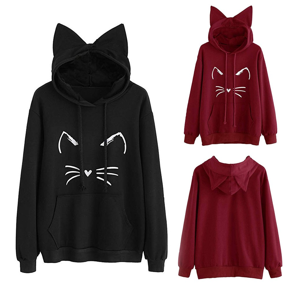 Female Cute Cat Ear Solid Color Long Sleeve Hoodie Sweatshirt Hooded Pullover Tops Autumn Winter Fashion Hot Sale Blouse