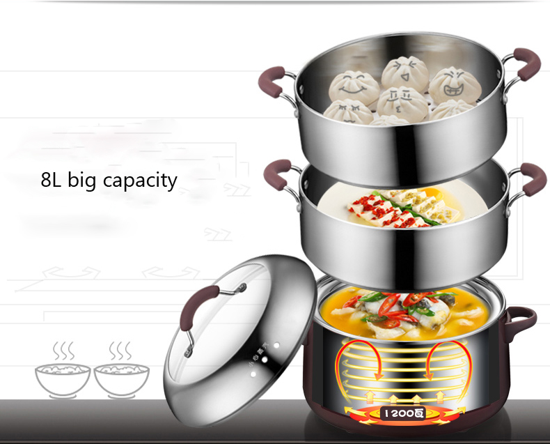 Household multi-function large capacity electric food steamer Mini hot pot stainless steel steamer steaming hot food cage 220v household electric pot convenient electric cooker 1l capacity electric skillet multi function steam stew kitchen tool