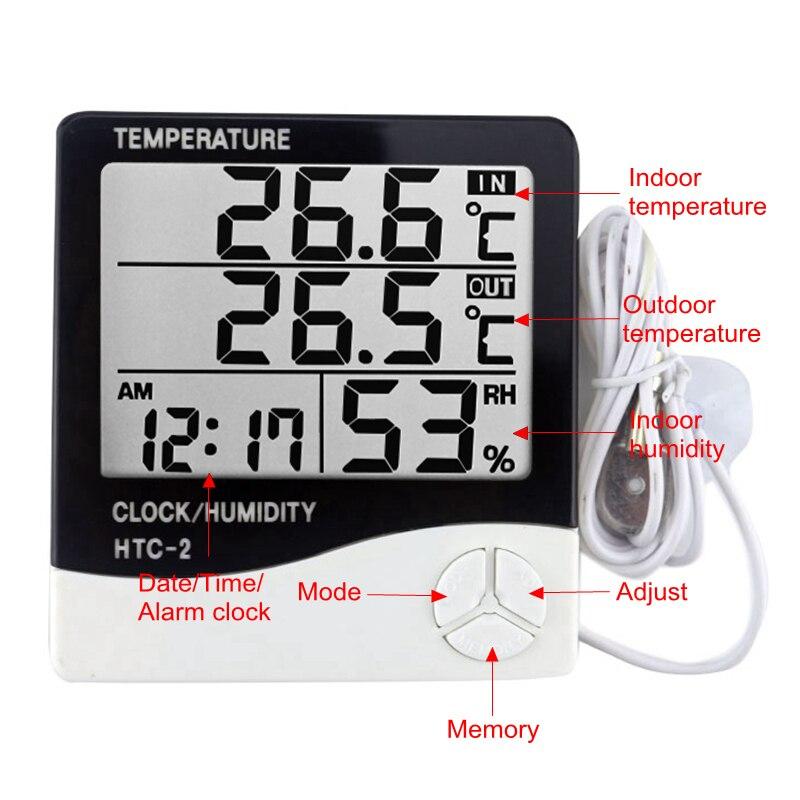 HTC-2 Station météo numérique hygromètre de pièce thermomètre horloge LCD intérieur/extérieur température humidité mètre avec capteur