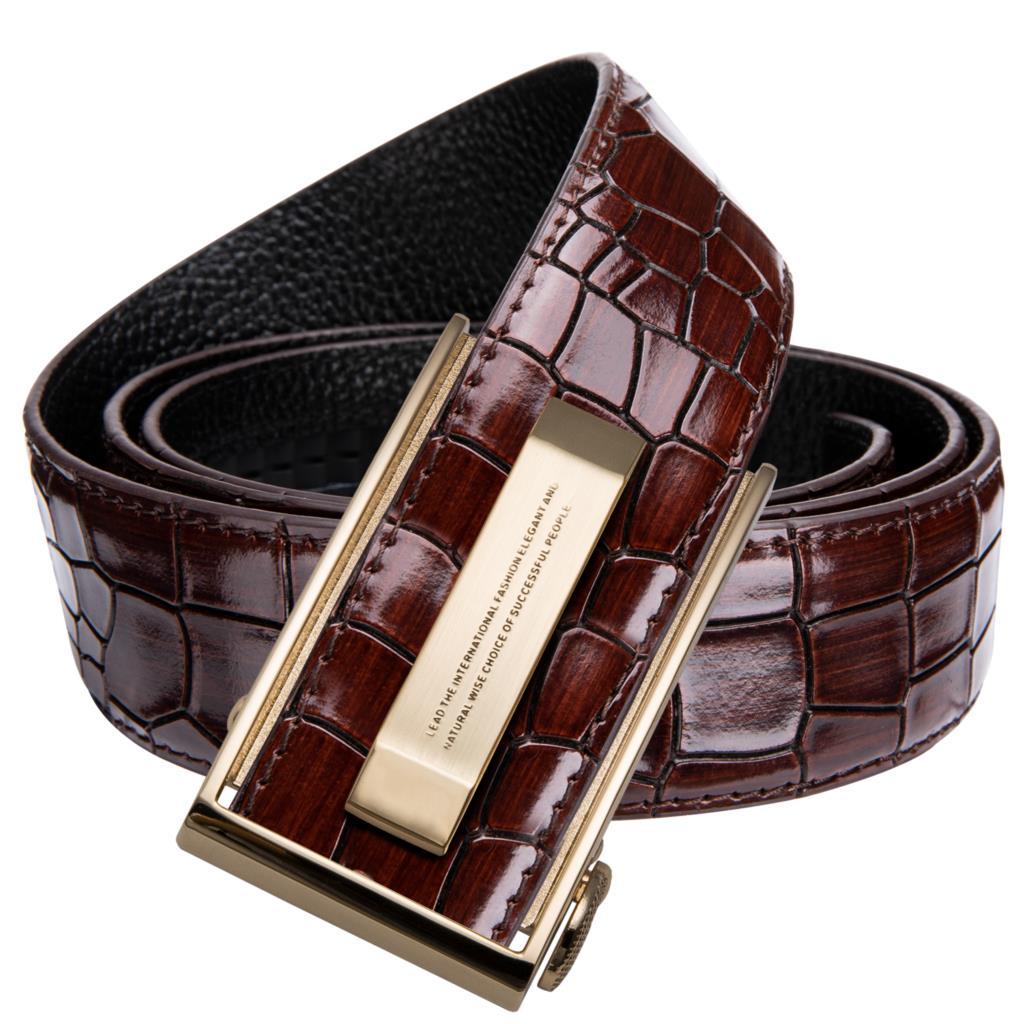 Hi-Tie Mens Designer Fashion Red Leather Belt Men Gold Buckle Luxury Cool Leather Belt For Jeans Red Crocodile Strap DJ-2036-C