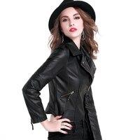 2017 Fashion Spring Autumn Women Faux Leather Jacket Female Coat Short Design Slim PU Leather Jacket
