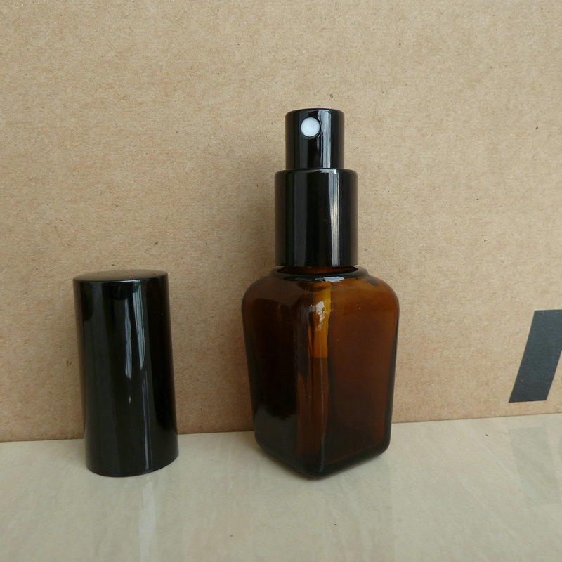 25ml brown amber square Glass perfume Bottle With aluminum shiny black mist sprayer perfume atomizer bottle
