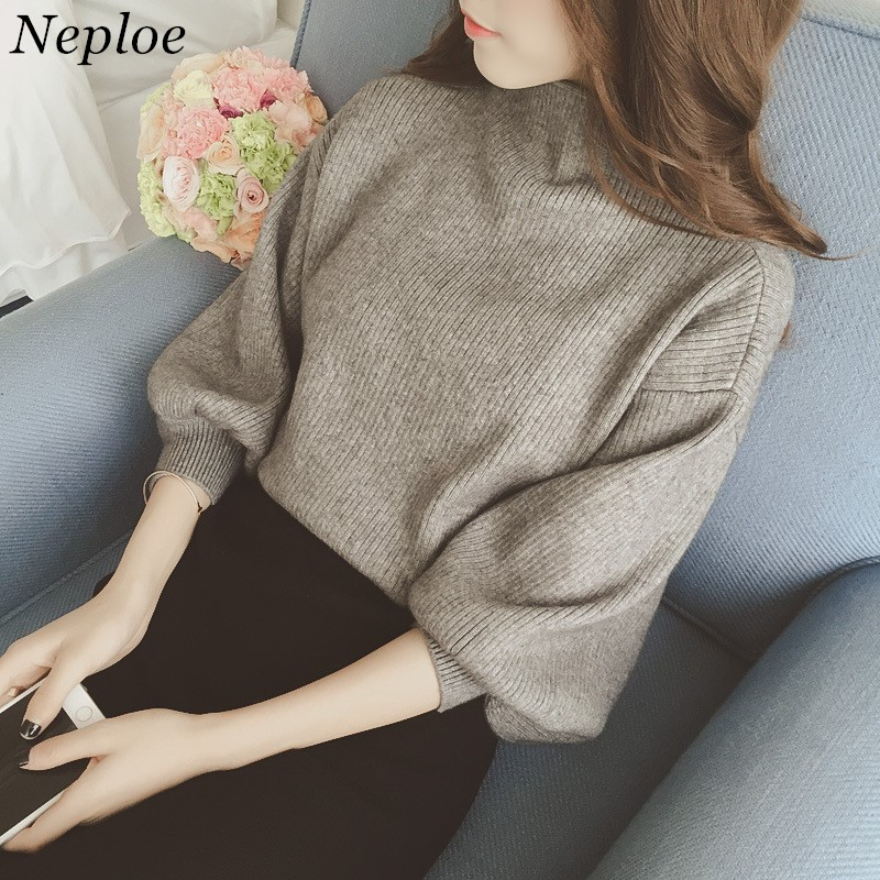 Korean Long Sleeve Women Sweaters Solid New Fashion Casual Loose Pullovers Half Turtleneck Ladies Knitted Sweater 65053