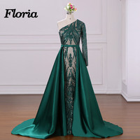 Arabic Couture Evening Dresses With Detachable Skirt Muslim One Shoulder Formal Prom Dress Party Gowns 2018 Robe de soiree