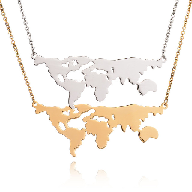 New design famous 316l stainless steel world map necklace earth new design famous 316l stainless steel world map necklace earth day gift globe statement necklace for gumiabroncs Images