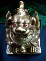 Feng Shui Protective Brass Pair Pi Yao Large For Wealth
