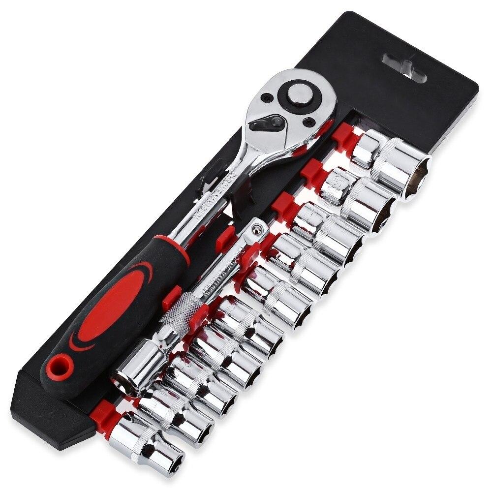 12 шт. 1/4 дюйма (6,3 мм) набор торцевых ключей храповик ключ гаечный ключ для велосипедов Мотоцикл Ремонт набор инструментов