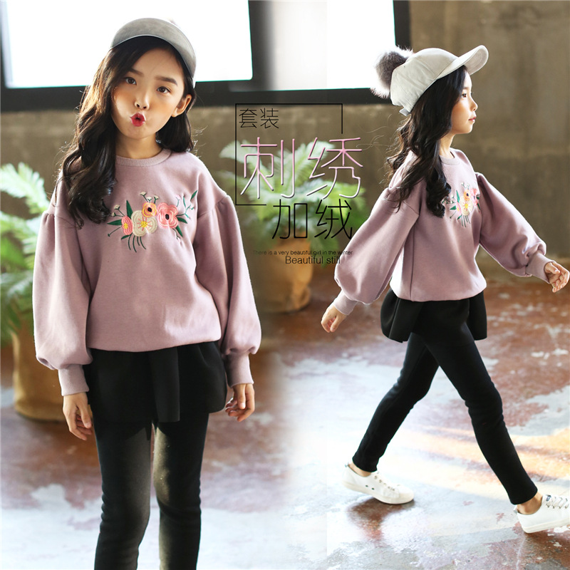 Girls set thick long-sleeved embroidery 2018 new autumn and winter children plus cashmere sweater + pants baby girl clothes newborn 2017 autumn and winter new girl cartoon plus cashmere cardigan women baby out jackets thick dress princess dress533