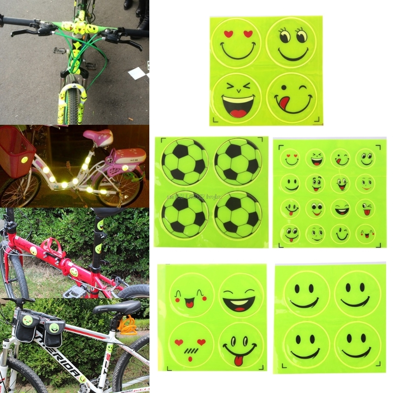 New Funny Reflective Bicycle Sticker Smiling Face Pattern Safety Night Riding Decal