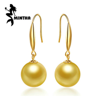 MINTHA 18k gold earrings pearl jewelry,9 10mm southsea gold pearl 18K Gold earrings For Women Fashion long earrings for love