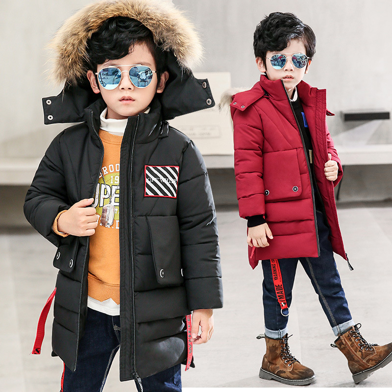 Boy Winter jacket Hooded thick padded fur collar Removable cap Parkas Coat Boys thick warm coat zipper children jacket 4-12Y boys winter jacket cotton padded fur collar hooded long kids outerwear coat thicken warm boy winter coat children clothing