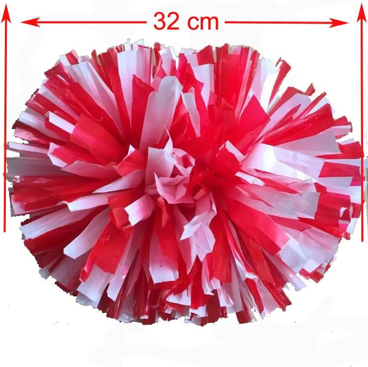 32CM წითელი + თეთრი სპორტული პომპომები (2 ცალი / ლოტი) Cheers pompons ფერი უფასო კომბინაცია შეგიძლიათ გამომიგზავნოთ