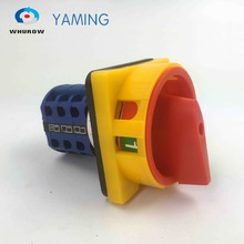 YMW26-20/3GS Rotary switch knob 2 position ON-OFF padlock handle yellow red High quality changeover cam switch 20A 3 phase lw26 ymw26 25 4 rotary switch knob 3 position 1 0 2 high quality changeover cam switch 25a 4 phase 16 terminals silver contact