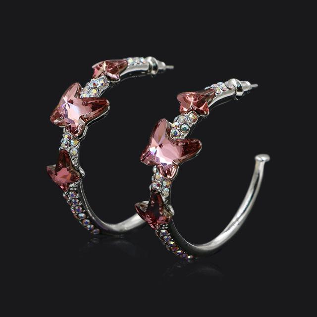 Joyas de Cristal austriaco Stellux Rhinestone Mariposa Púrpura Círculo Aro Pendientes Nuevo Diseño para Las Mujeres