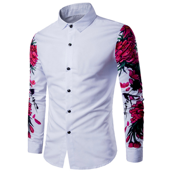 88fadb3106 Nueva llegada patrón camisa diseño manga larga Floral flores impresión Slim  Fit Hombre camisa Casual de los hombres de la moda camisas de vestir