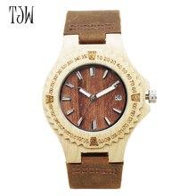 TJW wooden watch Sale Luxury Brand Fashion Women wood  Watches With Genuine Leather Strap Ladies Wooden Watch New Design Style