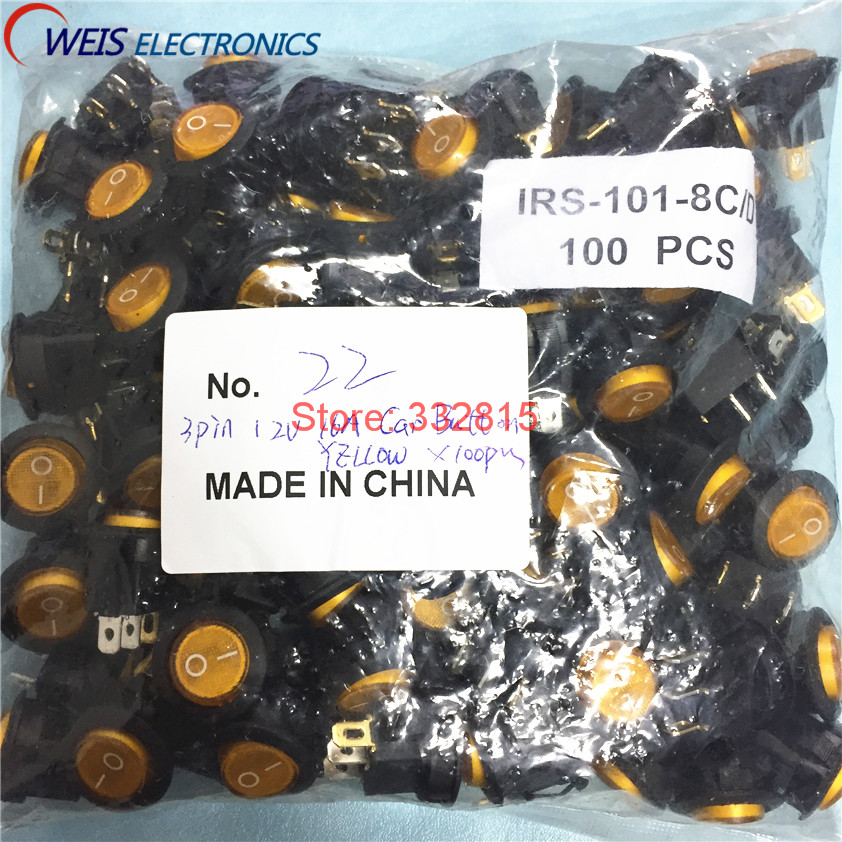 100PCS YELLOW 3pin 4 8mm terminals 12V 16A LED illuminated Car button lights ON OFF 20mm