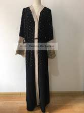2018 fashion muslim adult lace abaya Arab Fashion Turkey Middle East beading diamond Cardigan Dresses Musical Robe Ramadan wj829
