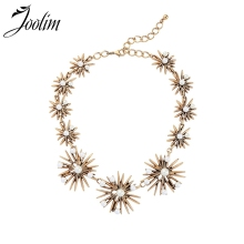 Joolim Jewelry Wholesale Vintage Gold Pearl Starburst Statement Collar Necklace Fashion