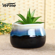 YeFine Creative Design Fambe Ceramic Flower Pots Flow Of The Glaze Succulent Plant Pot Porcelain Bonsai Pots Home Garden Decor