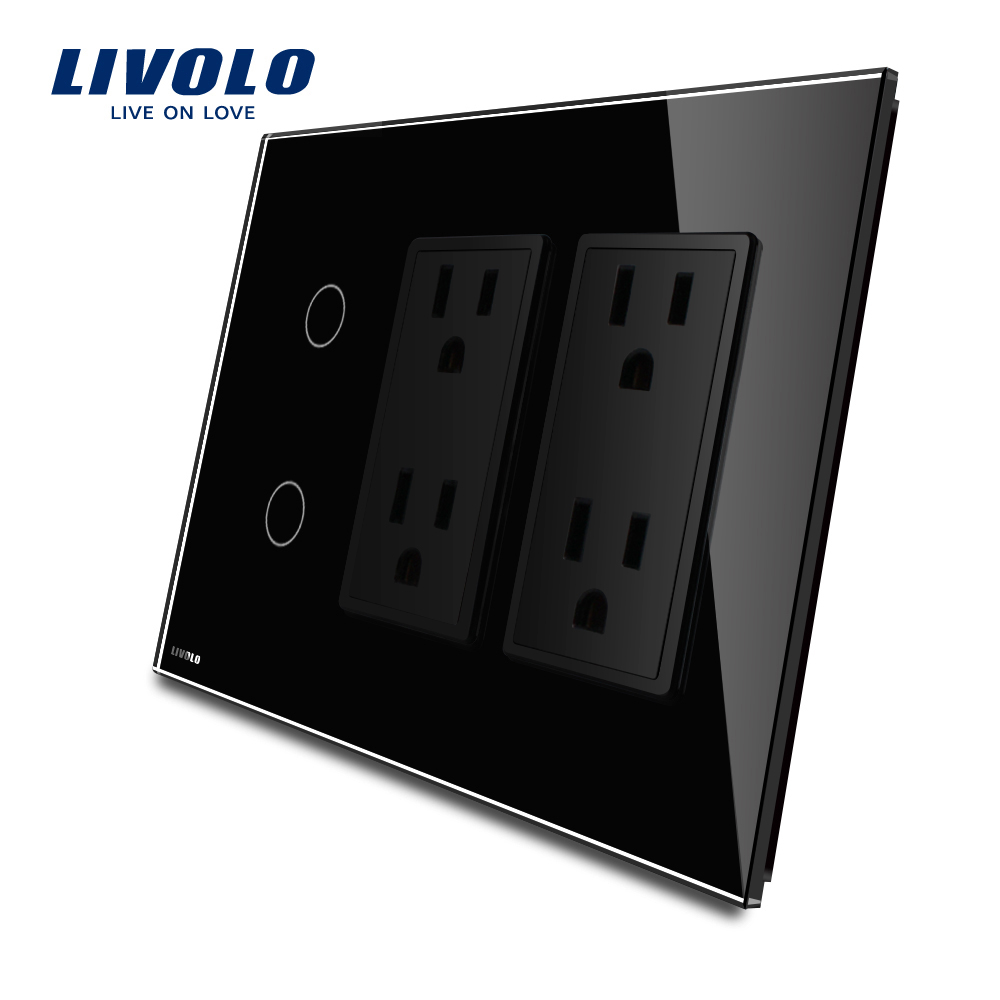 Livolo US standard Vertical, 2Gang+double US Socket(15A) , Luxury Black  Crystal Glass, VL-C502-12/C5C4US-12 livolo us standard black color glass 2gang