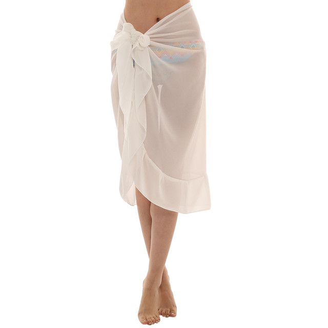 Women Chiffon Sunscreen Shawl Beach Bikini Swimwear Wrap Coverup Skirt Swimsuit Skirt Women Cute Sweet Girls Dance Skirt Юбка 2