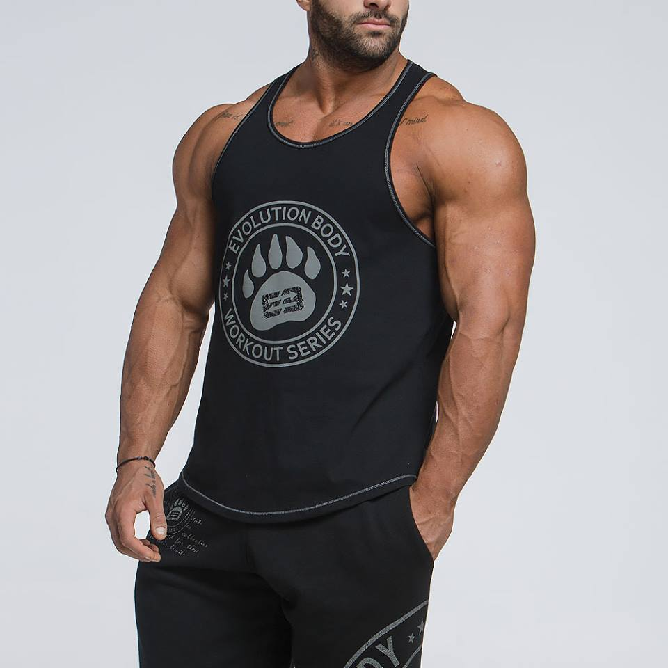 New 2018 Famous Brand Animal Letter Print   Tank     Top   Men 6 Colors Bodybuilding Stringer   Tank     Tops   Fitness Singlets