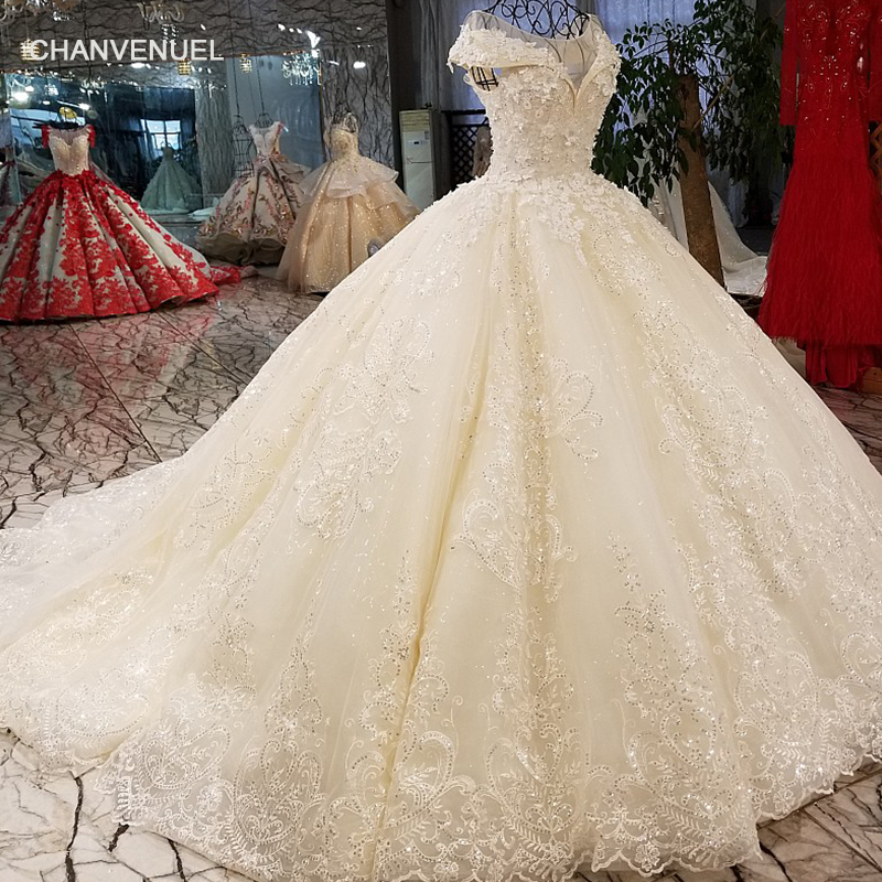LS01266 shiny sequined wedding dress with 3d flowers o neck cap sleeves lace up back champagne