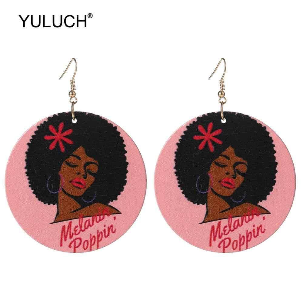 YULUCH Ethnische Große Runde Holz Gedruckt Druck Frauen Superstar Baumeln Ohrringe Modeschmuck 2019 Afrikanische Indischen Drop Ohrringe