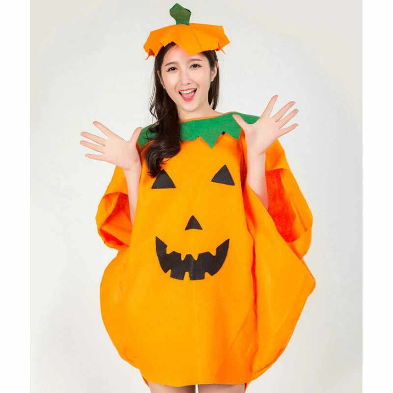 2018 Cute Kids Boys Girls Pumpkin Halloween Fancy Party Dress Costume Orange Dresses Hat Cosplay Outfits Clothes Set or pag