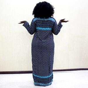Image 2 - Vestido de Moda Africana Dashiki 2019, vestido largo informal de algodón con estampado de apliques para mujer
