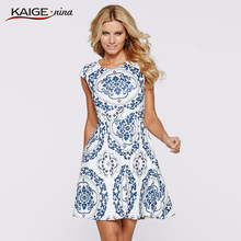 Totem Dress Paint Stroke White Women Summer Dresses Kaige.Nina Brand Plus Size Women Clothing Sexy Dresses 9020 a(China)
