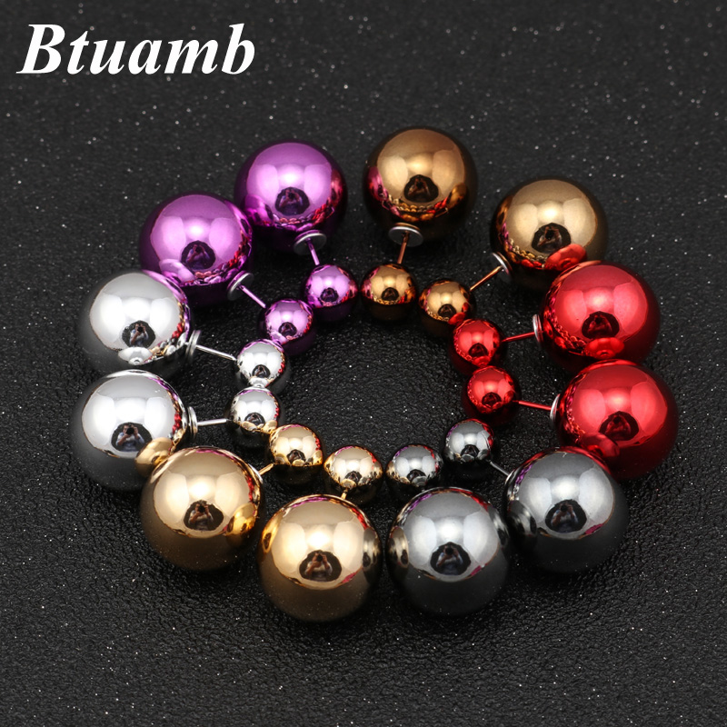 Btuamb New Maxi Simple Style Double Sides Big Ball Earrings Hot Selling Double Pearl Stud Earrings For Women Party Charm Jewelry
