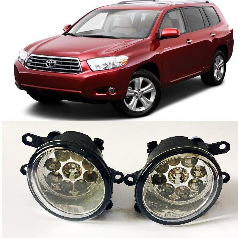 Car-Styling For Toyota Highlander Kluger 2008 2009 2010 9-Pieces Leds Fog Lights H11 H8 12V 55W Halogen LED Fog Head Lamp