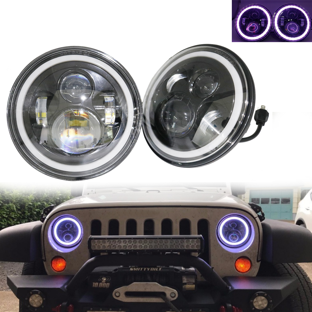 RGB Halo 7 Inch Led Headlight Plug And Play Led Angel Eyes Headlight Sealed Beam With