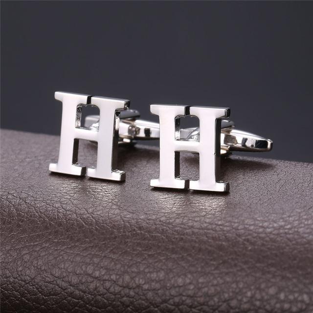 Alphabet H Men's Golden Plated Cufflink