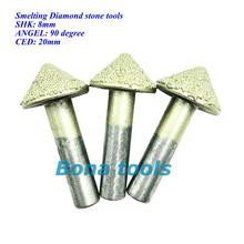 5PC/Set 8MM 90 Angle V Shape Engraving Bit CNC Grinding Diamond Stone Router Bits Milling Cutter for Engraving 3D Letter Carving цены