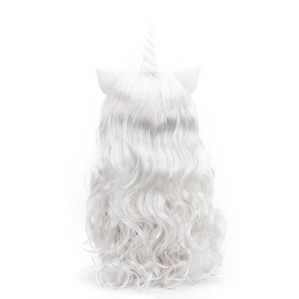 Il trasporto di Bellezza 24 ''Lunghi Ondulati Sintetico Bianco Pony Unicorno Cosplay Parrucche con la Frangetta Corno E Le Orecchie per il Capretto Adolescenti adulto Festa di Compleanno