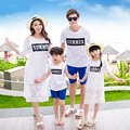 Mother Daughter Dresses Summer 2017 Cotton T shirt and Short Set / Lace Dress and Vest Dress 2pcs Family Look Matching Clothes