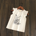 Summer 2017 fashion baby girls cartoon rabbit cotton sleeveless T-shirt child children fashion cute tops tees shirts