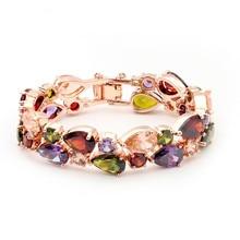 18K Rose Gold Plated Mona Lisa Multicolor Crystal Glass Bracelet for Women Top quality & Bangles
