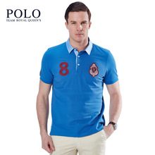 2016Royal Queen's Polo Team2017 new fashion business counter genuine lapel youth casual polo Slim short-sleeved men