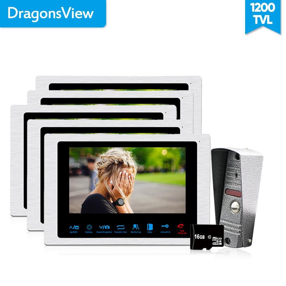 Dragonsview 1200TVL видео дома, телефон, домофон Системы 7 дюймов 1V5 Домофонные дверной звонок с Камера двойной способ говорить SD карты Запись