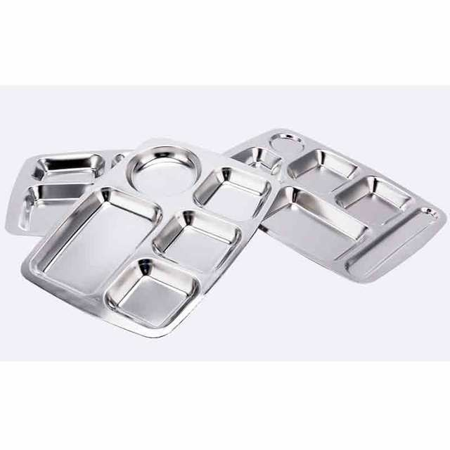 Stainless Steel Divided Dinner Plate Dish Round Students Lunch Tray Plate Tableware Canteen restaurants Supplies compartments  sc 1 st  AliExpress.com & Stainless Steel Divided Dinner Plate Dish Round Students Lunch Tray ...