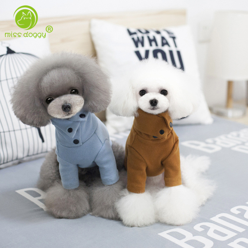 2017 Newly Button Design Wool Dog Clothes Winter Warm Pet Dog Cotton Shirts Apparel