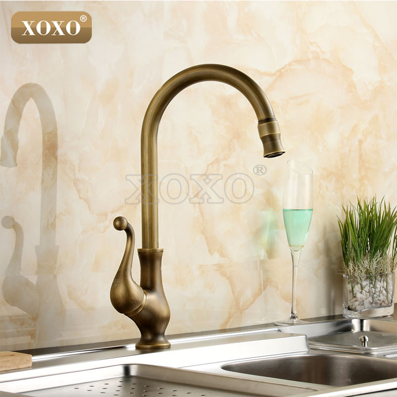 XOXOKitchen taps/cozinha/faucet Antique Brass Swivel Spout Kitchen Faucet Single Handle Vessel Sink Mixer Tap 50041B new pull out sprayer kitchen faucet swivel spout vessel sink mixer tap single handle hole hot and cold