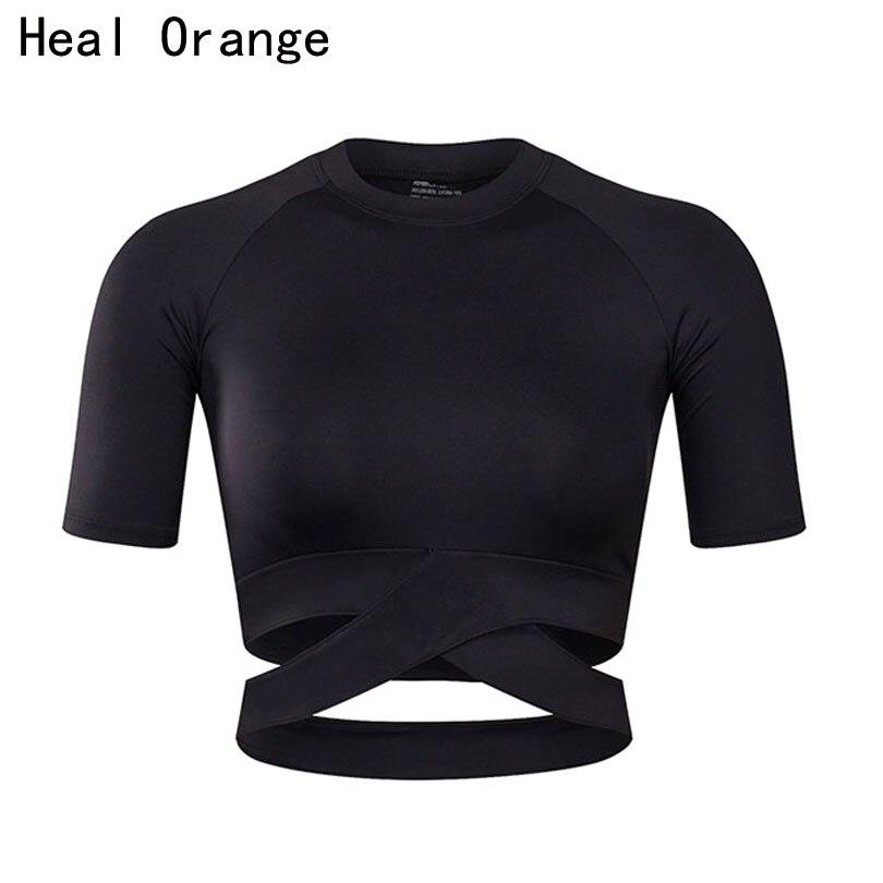 GUÉRIR ORANGE Femmes Chemises De Yoga Sexy Haut De Sport Remise En Forme de Style Crop Top Solide Shirt de Course Sport Gym Vêtements Débardeurs Sportswear